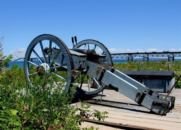 Photo of cannon from the Revolutionary War period at Colonial Michilimackinac in Mackinaw City, MI. © 2016 Frank Rogala.