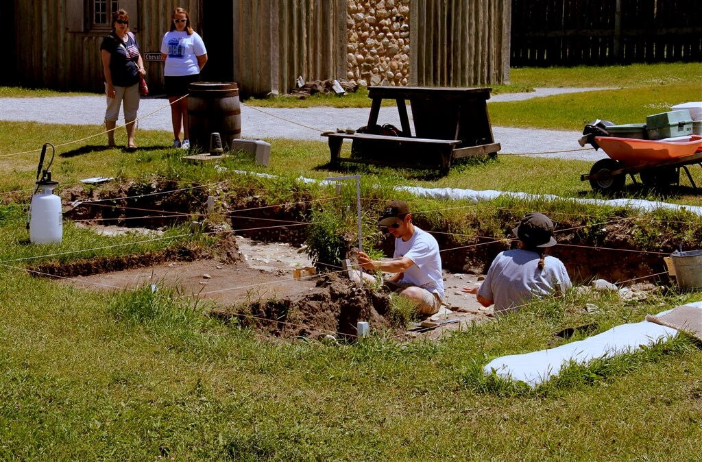 Photo of archeological excavations at Colonial Michilimackinac in Mackinaw City, MI. © 2016 Frank Rogala.