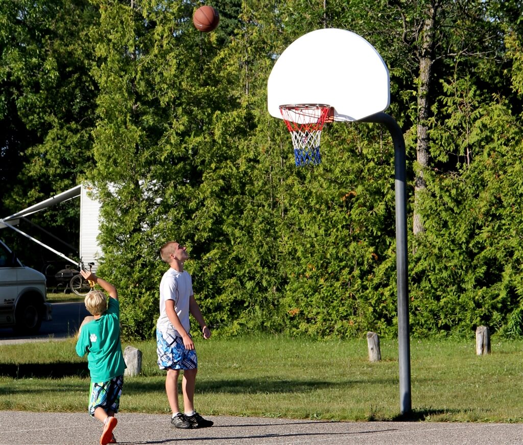 Photo of the full size basketball court at Mackinaw Mill Creek Camping in Mackinaw City, MI. © 2016 Frank Rogala.