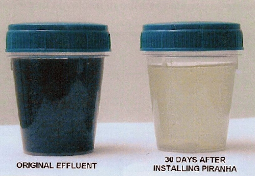 Photo of effluent before and after using our Pirahna Waste Water Processing System at Mackinaw Mill Creek Camping.