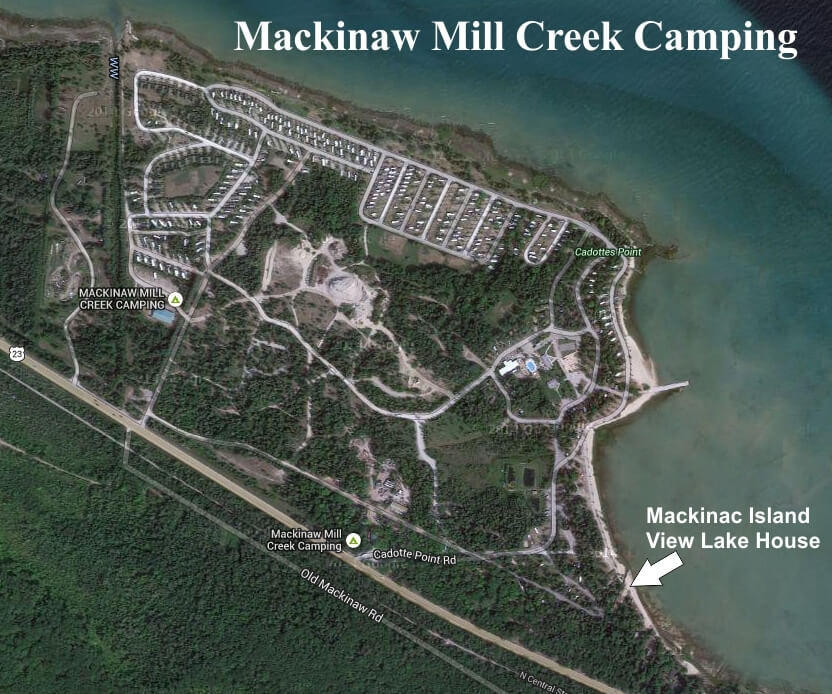 Aerial view of location for Mackinac Island View Lake House at Mackinaw Mill Creek Camping. © 2016 Frank Rogala.