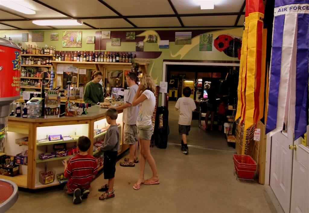 Photo of the checkout area in the park store at Mackinaw Mill Creek Camping in Mackinaw City, MI. © 2016 Frank Rogala.