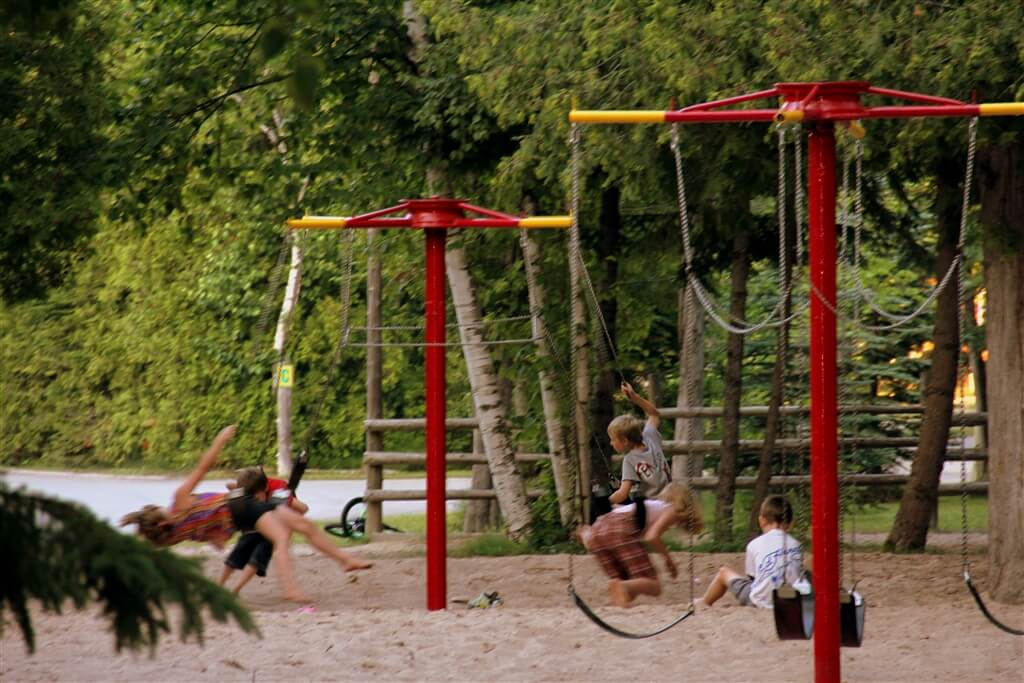 Photo of playground (equipment built by Richard Rogala) at Mackinaw Mill Creek Camping in Mackinaw City, MI. © 2016 Frank Rogala.