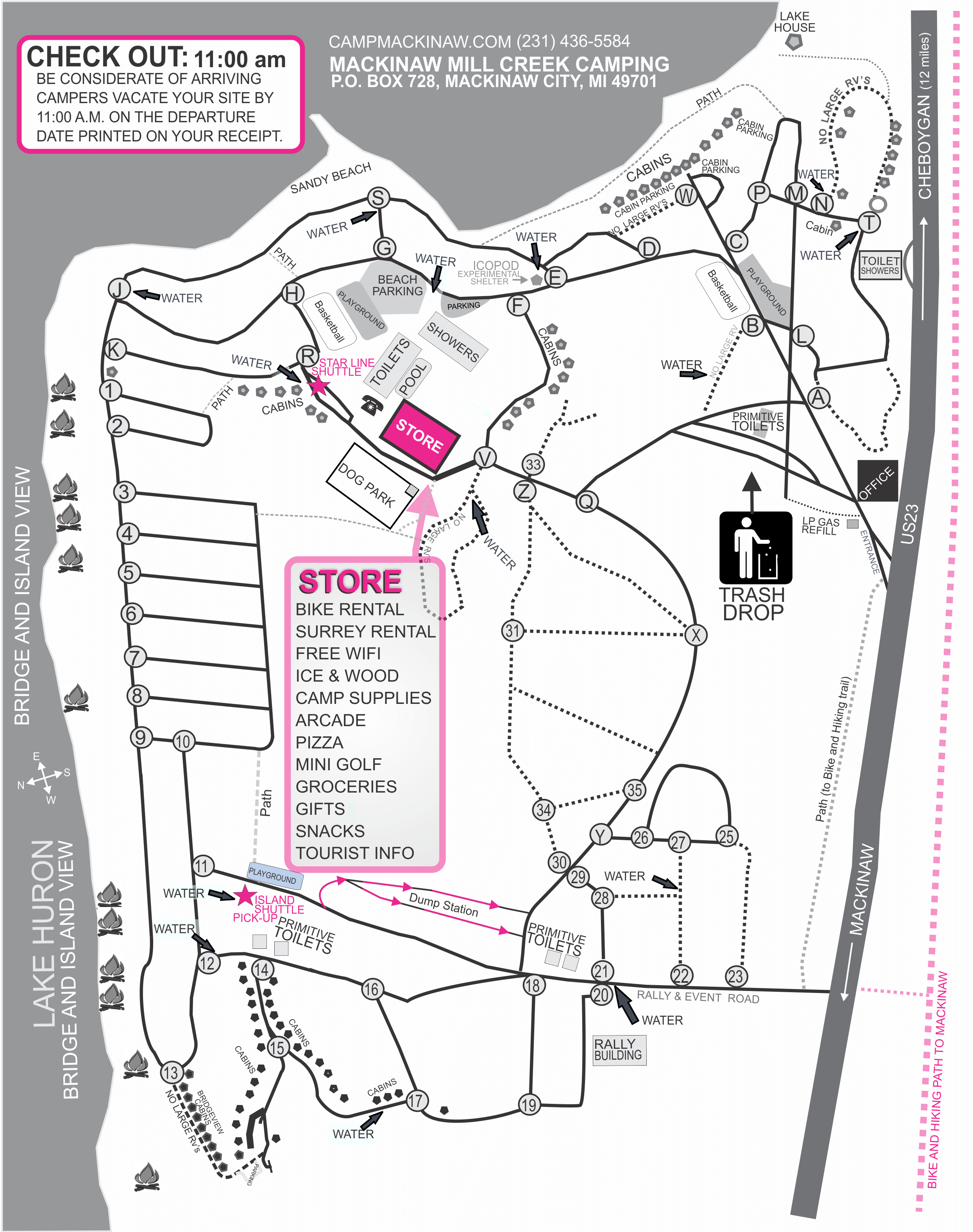 Campground map of Mackinaw Mill Creek Camping in Mackinaw City, MI. © 2017 Frank Rogala.