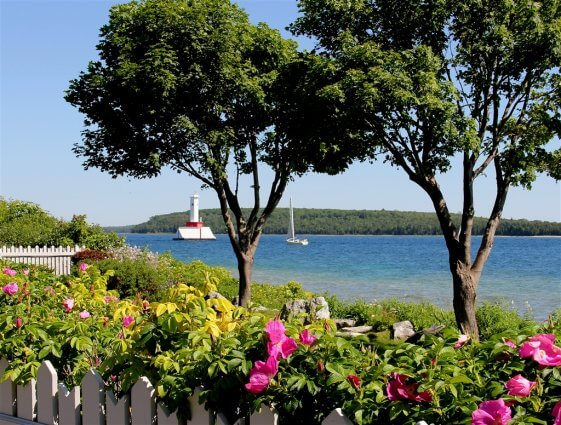 Scenic view from a victorian garden on Mackinac Island. © 2016 Frank Rogala.