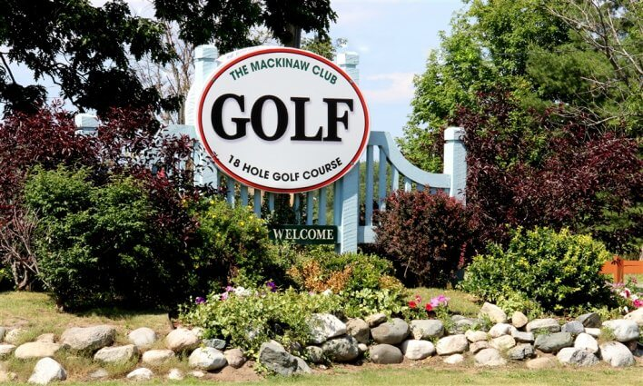 Photo of the entrance sign at the Mackinaw Club Golf Course in Carp Lake, MI. © 2016 Frank Rogala.