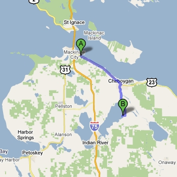 Map of Aloha State Park vs. Mackinaw Mill Creek Camping