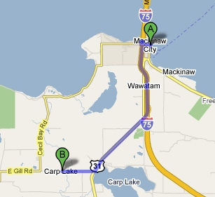 Map of directions from the Carp Lake Area to Mackinaw Mill Creek Camping in Mackinaw City, MI.