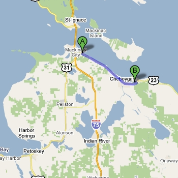 Map of Cheboygan State Park vs. Mackinaw Mill Creek Camping