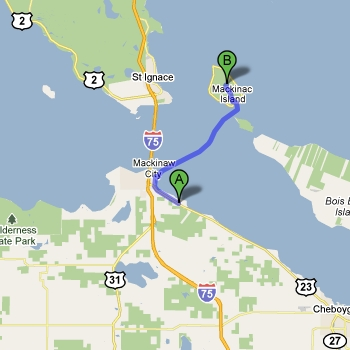 Map of Mackinac Island State Park vs. Mackinaw Mill Creek Camping