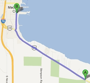Map of directions from the Mackinaw City Area to Mackinaw Mill Creek Camping in Mackinaw City, MI.