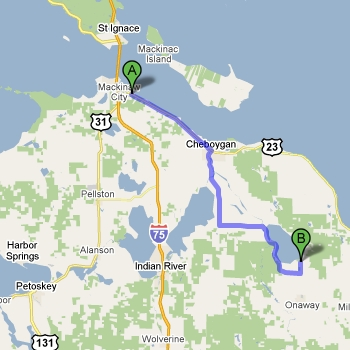 Map of Onaway State Park vs. Mackinaw Mill Creek Camping