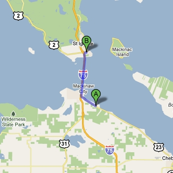 Map of Straits State Park vs. Mackinaw Mill Creek Camping