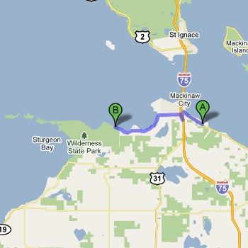 Map of Wilderness State Park vs. Mackinaw Mill Creek Camping