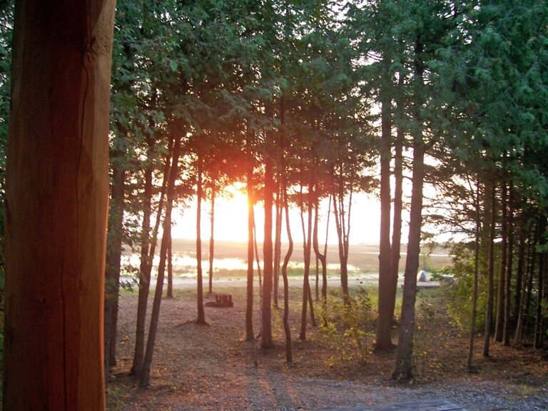 Photo of an October sunrise by Jude Ann Bailod at Mackinaw Mill Creek Camping in Mackinaw City, MI.