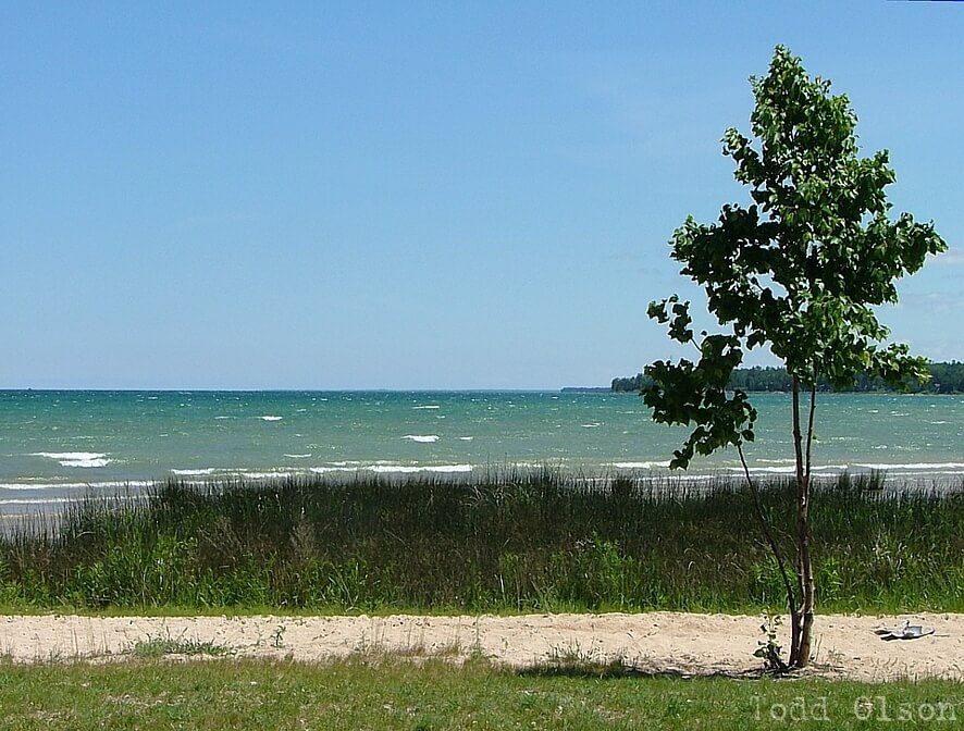 Photo of the Lake Huron shoreline by Todd Olson at Mackinaw Mill Creek Camping in Mackinaw City, MI.