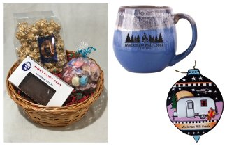 Photo of Camping Gift Basket with Blue Mug, Airstream Ornament & Treats. © 2017 Frank Rogala.