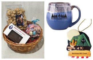 Photo of Camping Gift Basket with Blue Mug, Tent Ornament & Treats. © 2017 Frank Rogala.