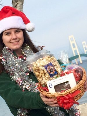Photo of Christmas Gift Basket for Campers (Mackinac bridge in background). © 2017 Frank Rogala.