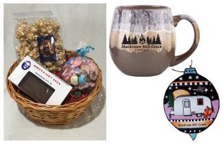 Photo of Camping Gift Basket with Brown Mug, Airstream Ornament & Treats. © 2017 Frank Rogala.