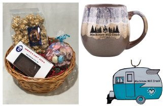 Photo of Camping Gift Basket with Brown Mug, Vintage Camper Ornament & Treats. © 2017 Frank Rogala.