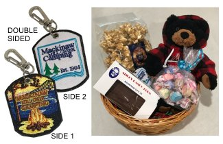 Photo of Camping Gift Basket with Teddy Bear, Key Chain & Treats. © 2017 Frank Rogala.