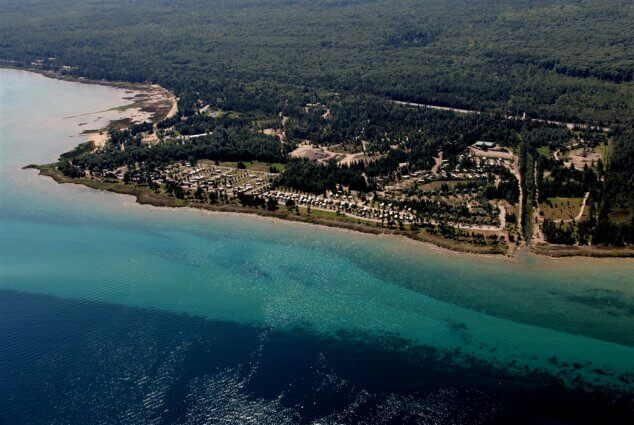 Bird's-eye view from onshore of Mackinaw Mill Creek Camping in Mackinaw City, MI. © 2016 Frank Rogala.