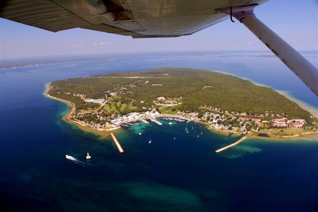 Bird's-eye view of Mackinac Island. © 2016 Frank Rogala.