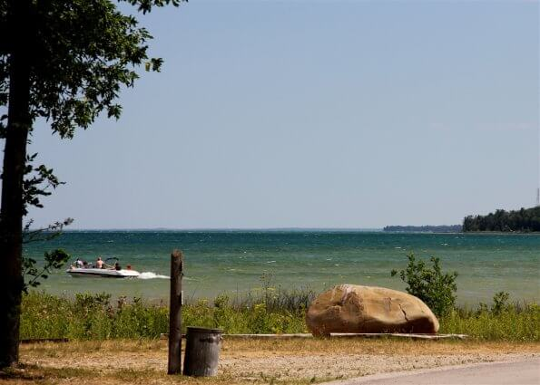 Photo of boat on Lake Huron from Mackinaw Mill Creek Camping in Mackinaw City, MI. © 2016 Frank Rogala.