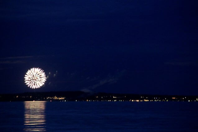 Photo of Independence Day fireworks over the Grand Hotel from Mackinaw Mill Creek Camping in Mackinaw City, MI. © 2016 Frank Rogala.