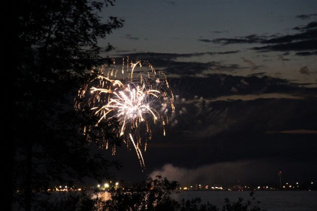 Photo of fireworks on the 4th of July from Mackinaw Mill Creek Camping in Mackinaw City, MI. © 2016 Frank Rogala.