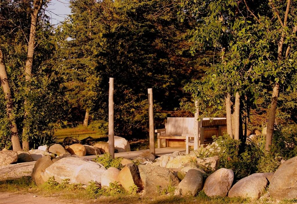 Photo of a bench at Mackinaw Mill Creek Camping in Mackinaw City, MI. © 2016 Frank Rogala.
