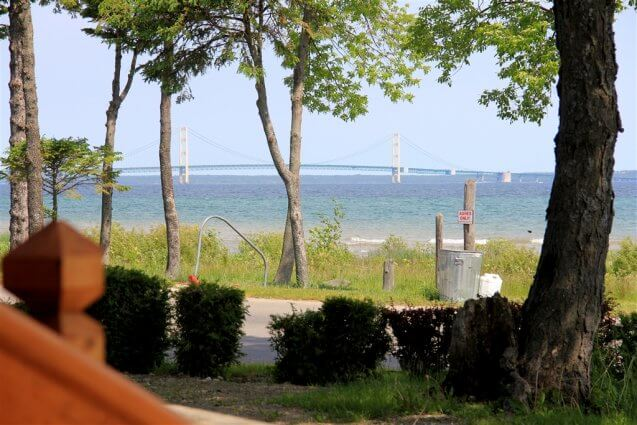 Photo of view from a cabin porch at Mackinaw Mill Creek Camping in Mackinaw City, MI. © 2016 Frank Rogala.