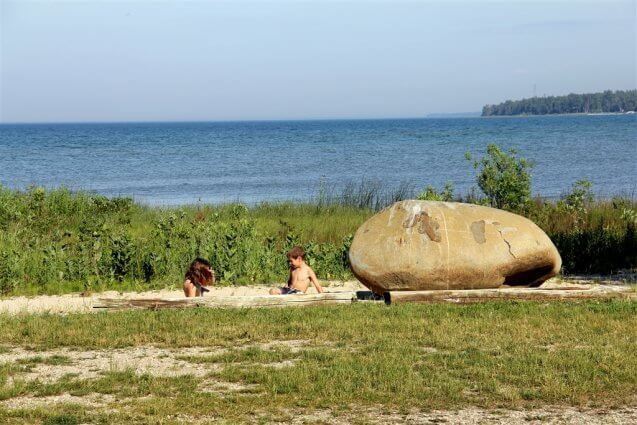 Photo of children playing in the sand on Cadottes Point at Mackinaw Mill Creek Camping in Mackinaw City, MI. © 2016 Frank Rogala.
