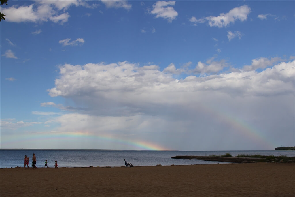 Photo of double rainbows from the shore of Mackinaw Mill Creek Camping in Mackinaw City, MI. © 2016 Frank Rogala.