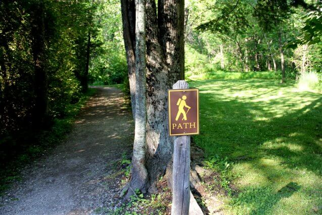 Photo of the entrance to a scenic foot trail at Mackinaw Mill Creek Camping in Mackinaw City, MI. © 2016 Frank Rogala.