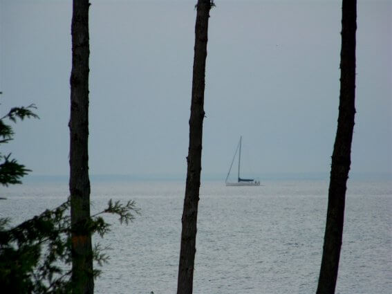 Photo of a sailboat on the shoreline of Mackinaw Mill Creek Camping in Mackinaw City, MI. © 2016 Frank Rogala.
