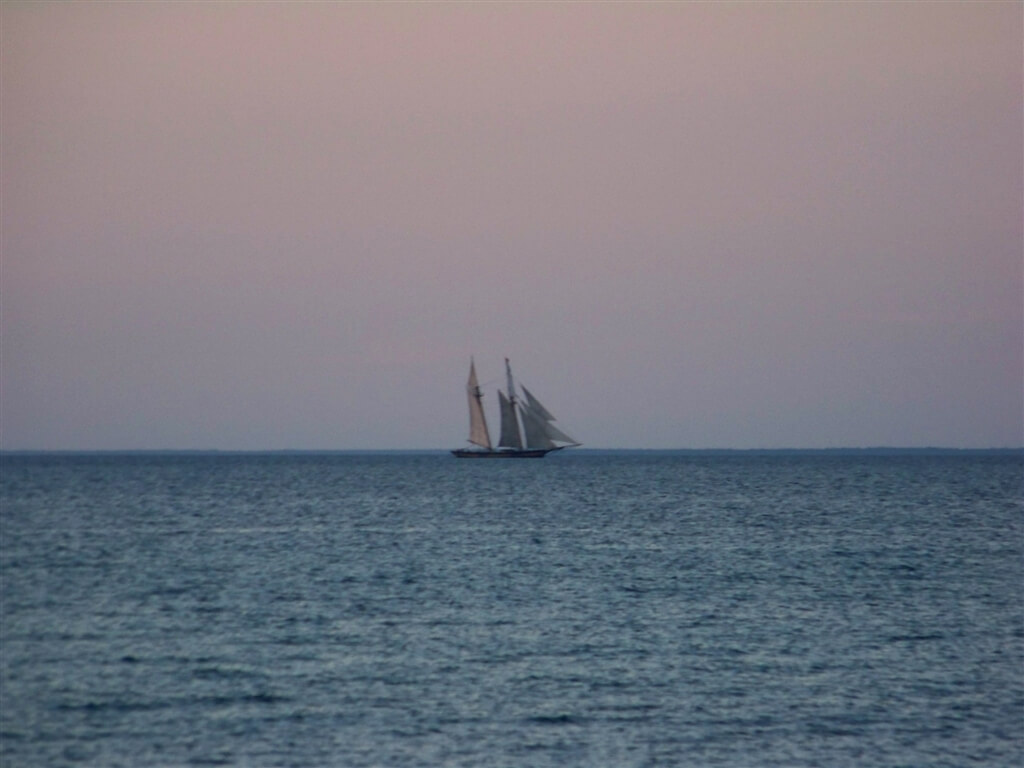 Photo of a modern day schooner on Lake Huron from the shores of Mackinaw Mill Creek Camping in Mackinaw City, MI. © 2016 Frank Rogala.