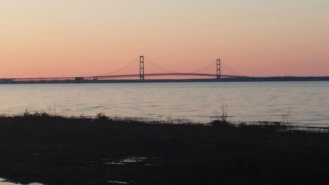 View of Mackinac Bridge from the motel room shoreline. © Frank Rogala.
