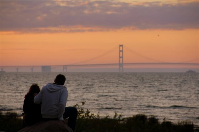 Photo of a sunset behind the Mackinac Bridge from Mackinaw Mill Creek Camping in Mackinaw City, MI. © 2016 Frank Rogala.