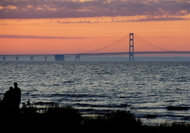 Photo of the Mackinac Bridge during twilight from the shore of Mackinaw Mill Creek Camping in Mackinaw City, MI. © 2016 Frank Rogala.