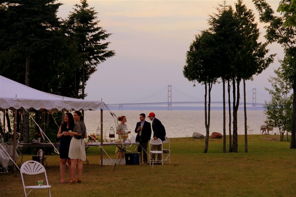 Photo of a wedding celebration about to begin at Mackinaw Mill Creek Camping in Mackinaw City, MI. © 2016 Frank Rogala.