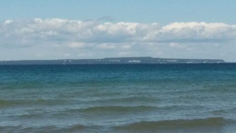View of Mackinac Island from the motel room shoreline. © Frank Rogala.