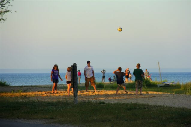 Photo of people playing volleyball at Mackinaw Mill Creek Camping in Mackinaw City, MI. © 2016 Frank Rogala.