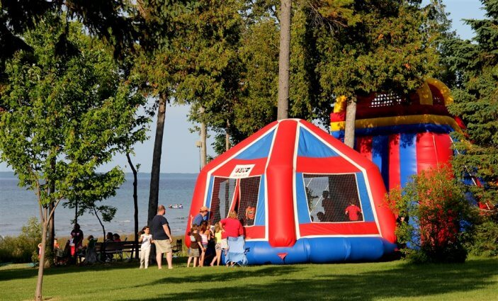 Photo of a bounce house for the 4th of July at Mackinaw Mill Creek Camping in Mackinaw City, MI. © 2016 Frank Rogala.