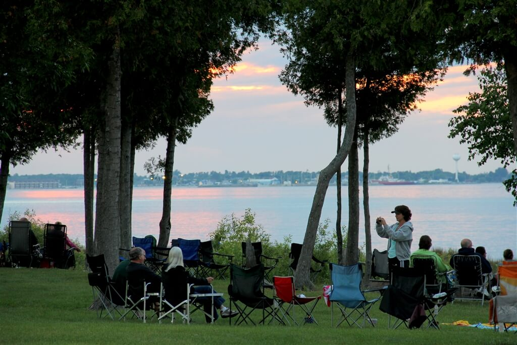 Photo of campers preparing for the 4th of July fireworks at Mackinaw Mill Creek Camping in Mackinaw City, MI. © 2016 Frank Rogala.