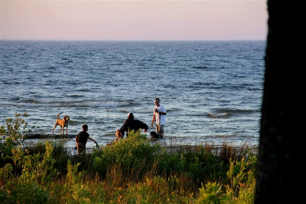 Photo of campers and their dogs playing in the water at Mackinaw Mill Creek Camping in Mackinaw City, MI. © 2016 Frank Rogala.