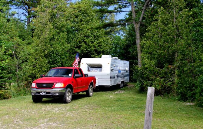 Photo of a big rig RV site at Mackinaw Mill Creek Camping in Mackinaw City, MI. © 2016 Frank Rogala.