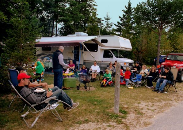 Photo of a family reunion on Labor Day at Mackinaw Mill Creek Camping in Mackinaw City, MI. © 2016 Frank Rogala.