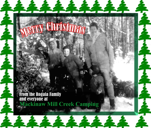 Photo of Mackinaw Mill Creek Camping founders harvesting their Christmas Tree